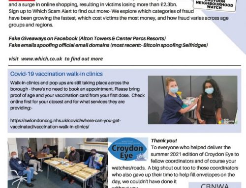 Croydon Neighbourhood Watch Update